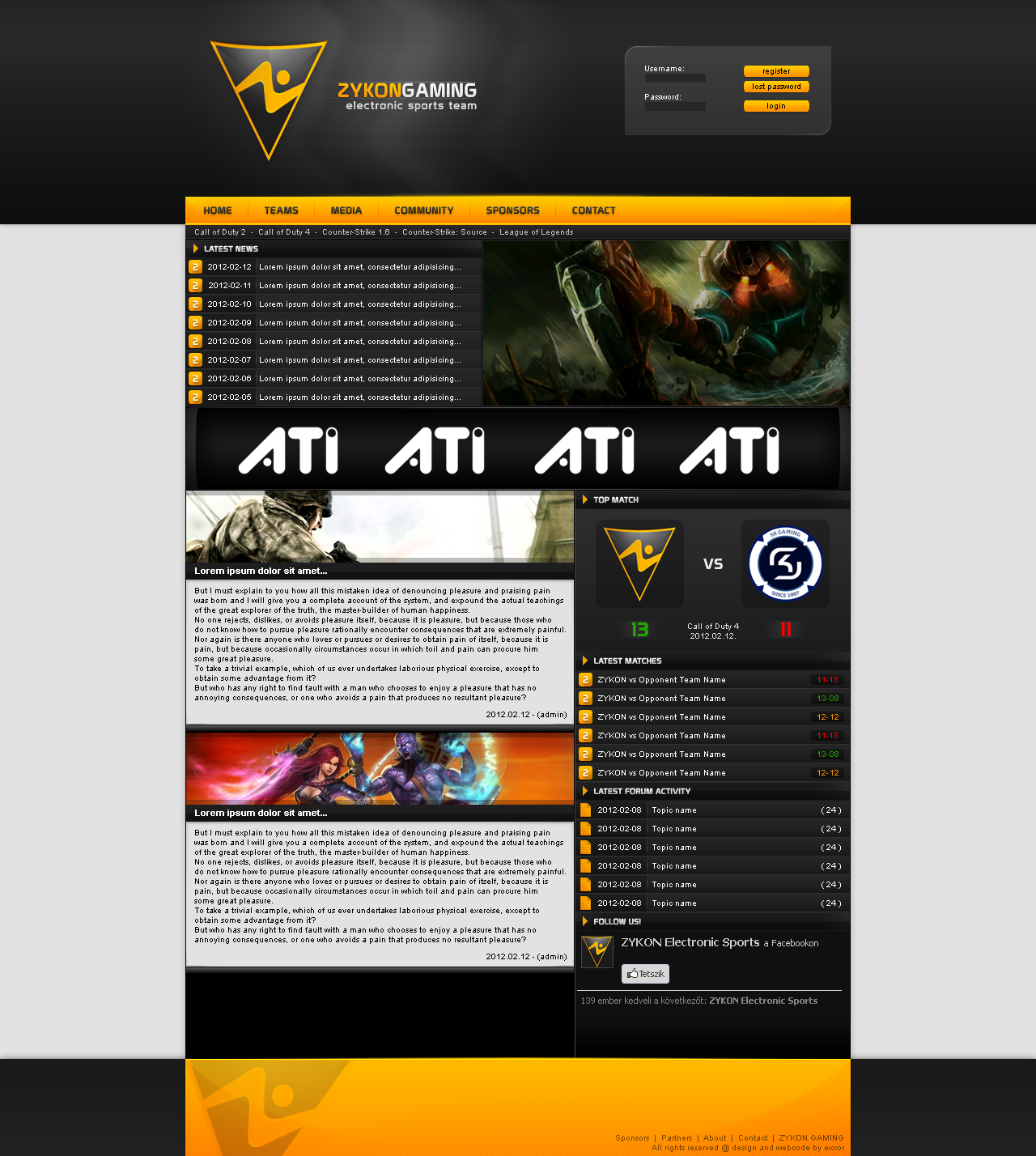 ZYKON gaming webdesign by exxor89 on DeviantArt