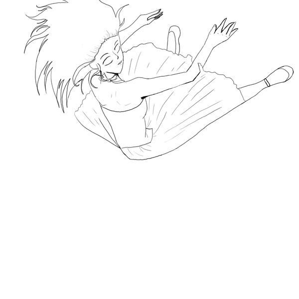 Girl Falling Drawing Girl Falling Lineart by