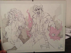 gambit and rogue xmen sketch