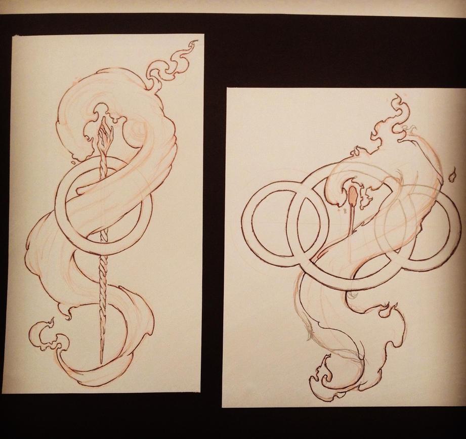 tattoo sketch fire staff by jasonhopking