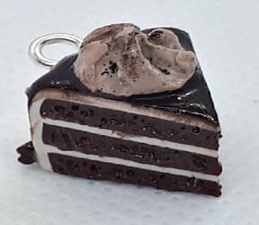 Miniature chocolate cake slice charm by NiennaxAngelus