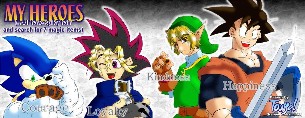 Heroes: Sonic Yugi Link Goku by greatwuff