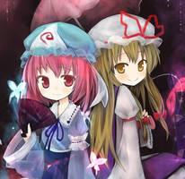 Yuyuko and Yukari by amkn