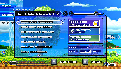 (Sonic vs Darkness TNR) Stage Select Menu