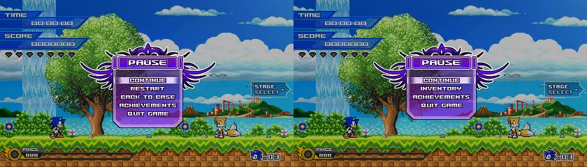 (Sonic vs Darkness) Pause Menu Design by Kainoso