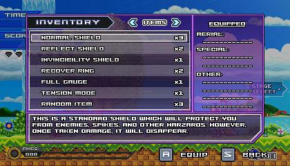 (Sonic vs Darkness) Inventory Menu