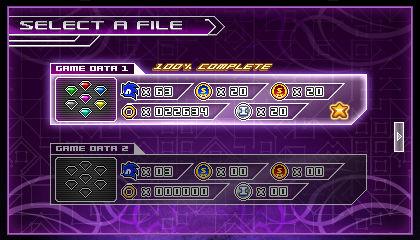 (Sonic vs Darkness) Game Data Select Screen
