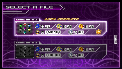 (Sonic vs Darkness) Game Data Select Screen by Kainoso