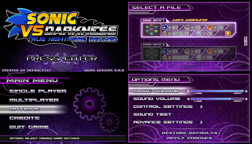 (Sonic vs Darkness) New Menu Design Compilation P1 by Kainoso