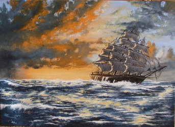 Sailing on the sea by Mishice
