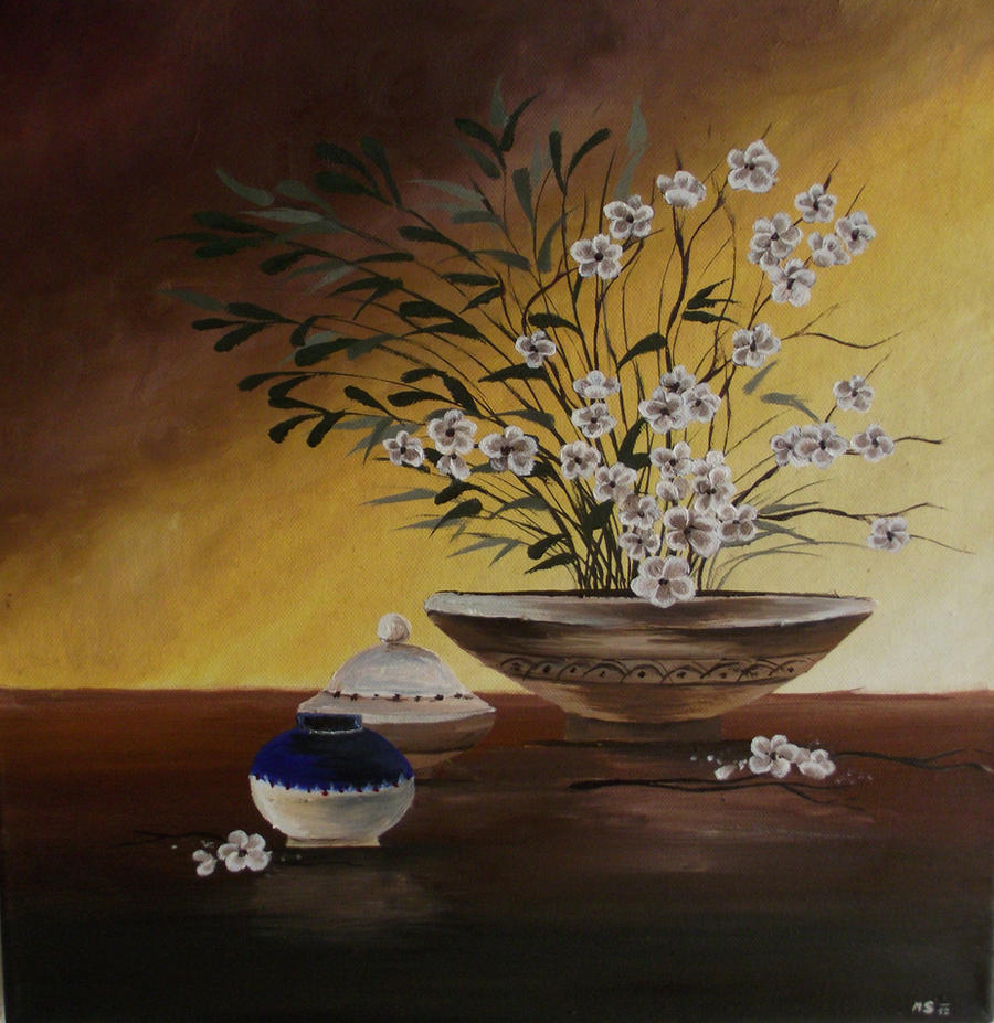 Still life with flower and pottery by Mishice