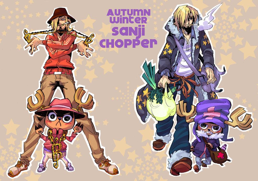 One Piece fashion fanart : Sanji and Chopper by Rafchu
