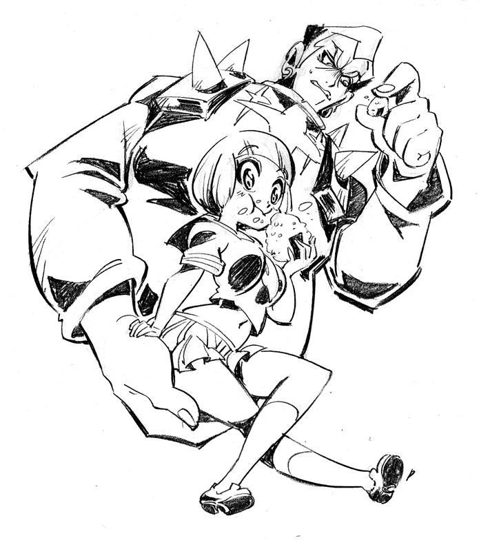 Gamagori and Mako from Kill la Kill by Rafchu