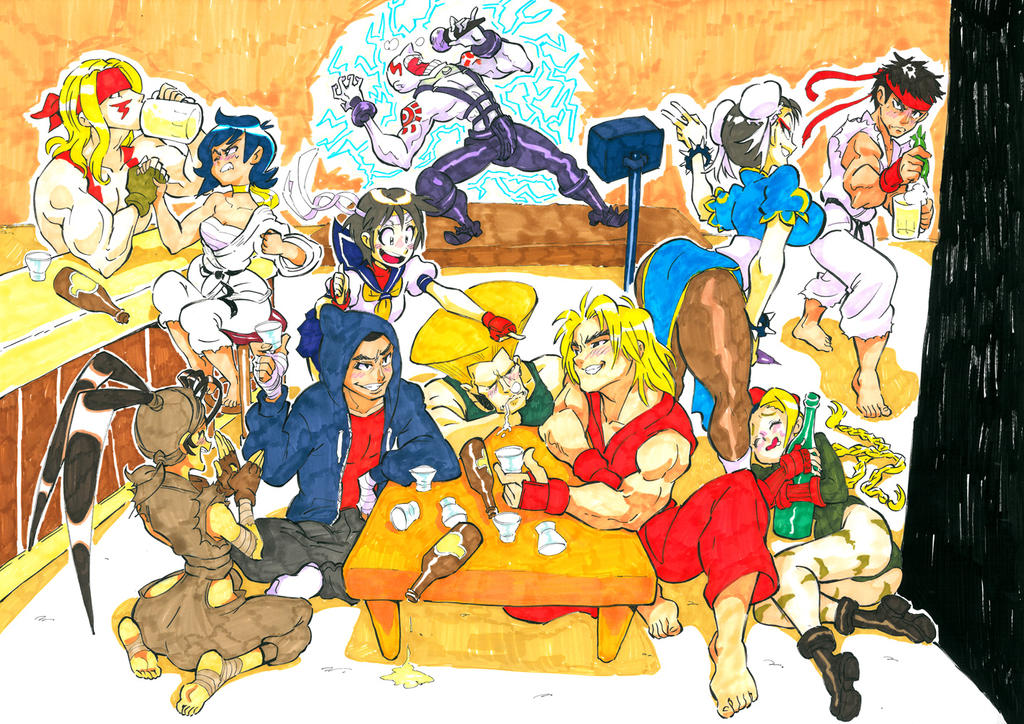 Drinking with Street Fighter by Rafchu