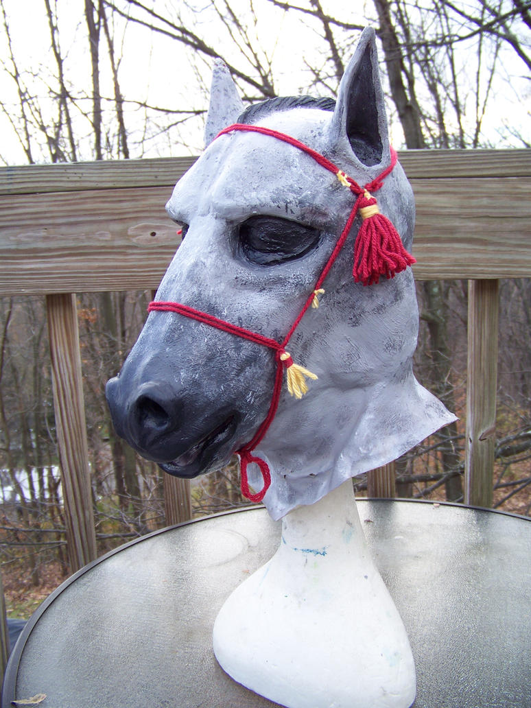 Dapple Grey Horse Hood w/ rope halter by user-name-not-found