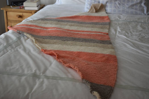 Peach and Gray Triangle Scarf/ Shawl On Etsy Now