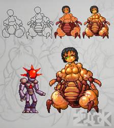 Tomato and Bubble Head (Pixel Art)