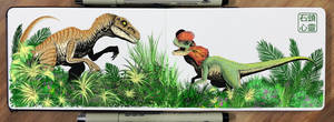Velociraptor and Dilophosaurus