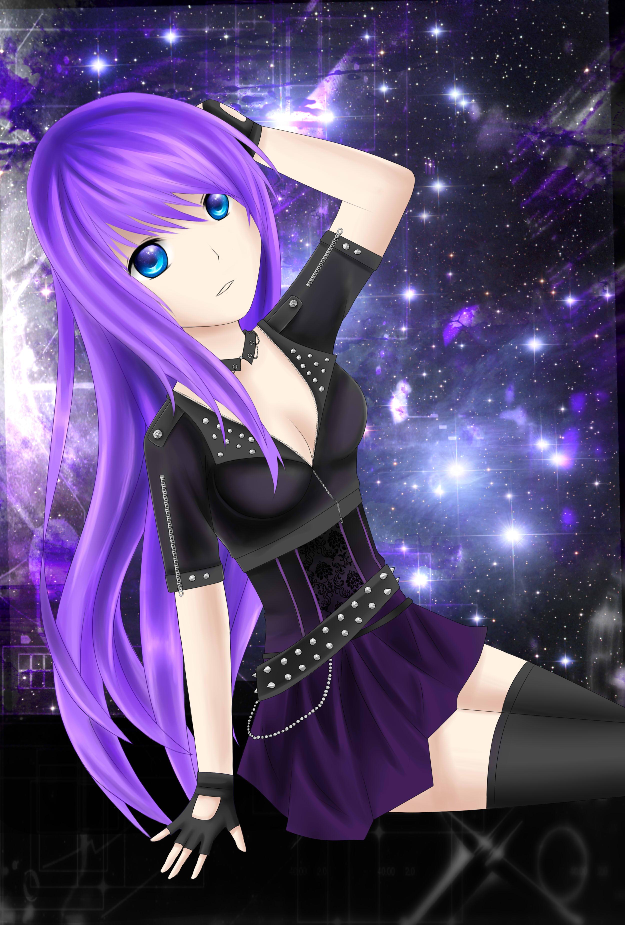 Purple Galaxy Anime Girl Wallpaper