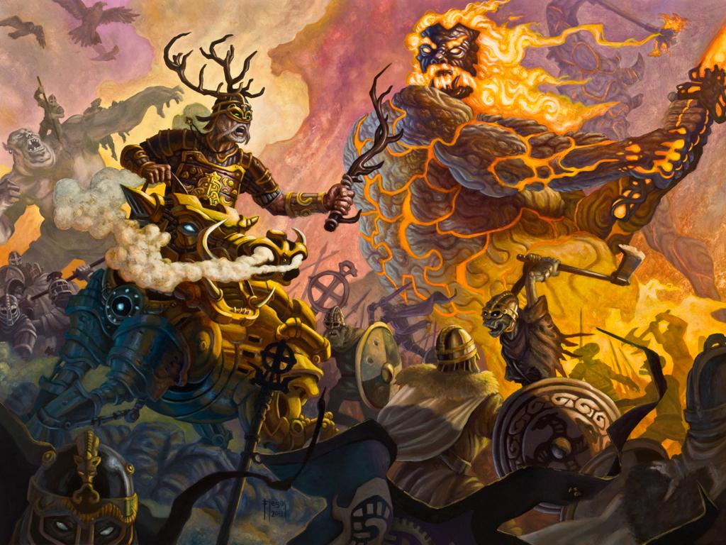Image of Freyr Norse God encountering Surtr in Ragnarok