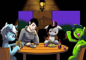 Commission - Ponies around table
