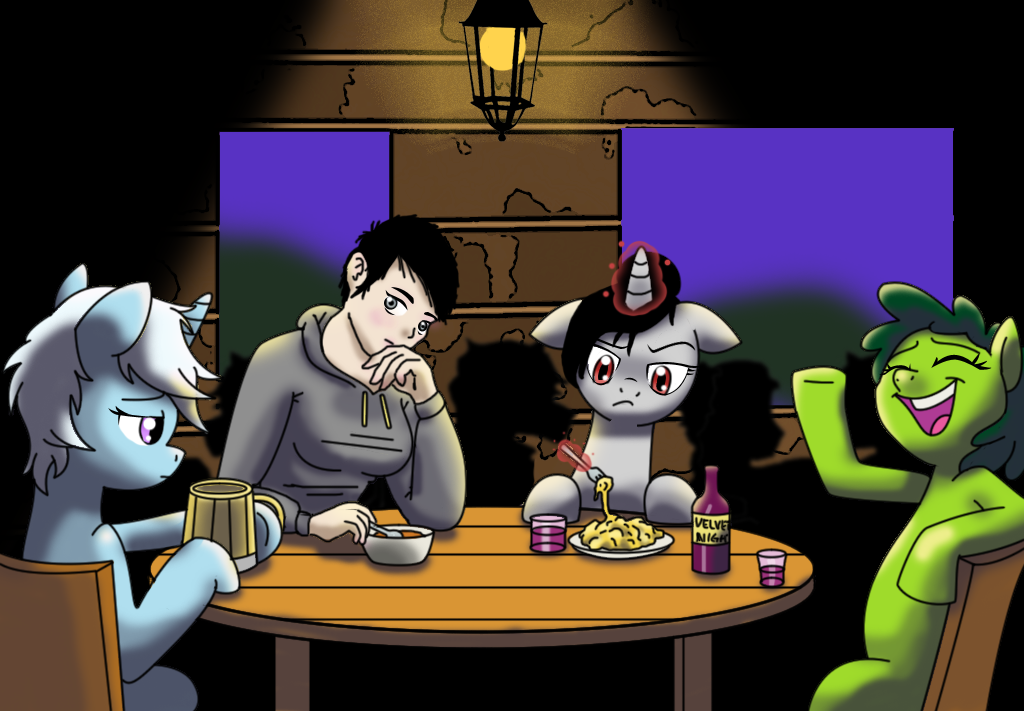 Commission - Ponies around table by InfinityVoid