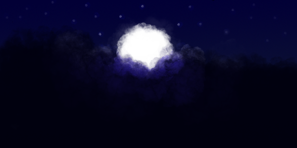Cloudy Full Moon Night by Clank010101