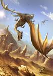 Harpy fighting against dragon flier