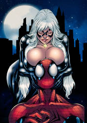 BlackCat and Spiderman [quick colors] by Gwendlg