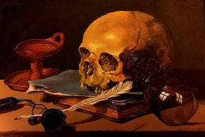Still Life with Skull and Writing Quill by blueshywolf124