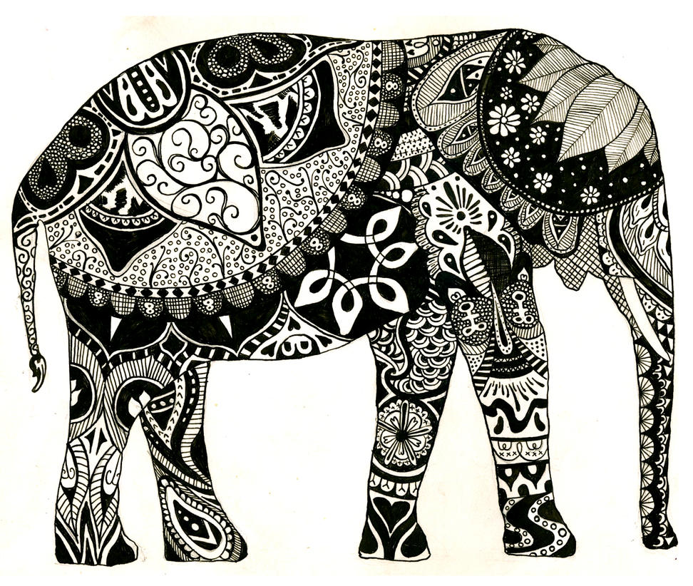 Elephant by beaulivres Indian Elephant Drawing Tumblr Colorful