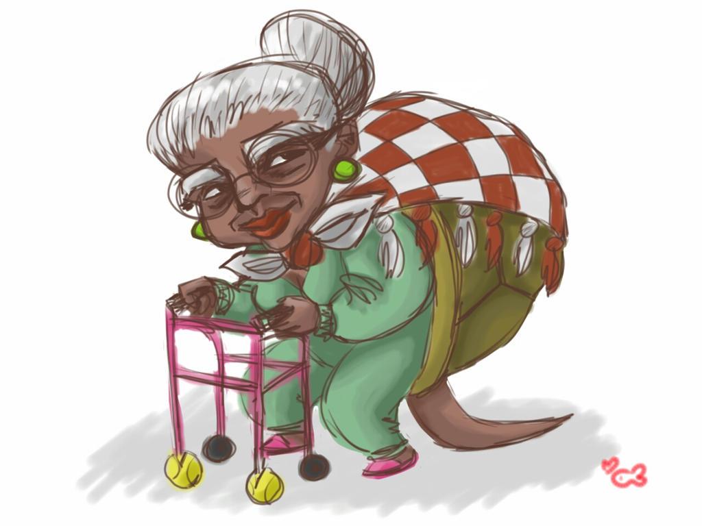 Turtle Grandma Sketch by Komeko