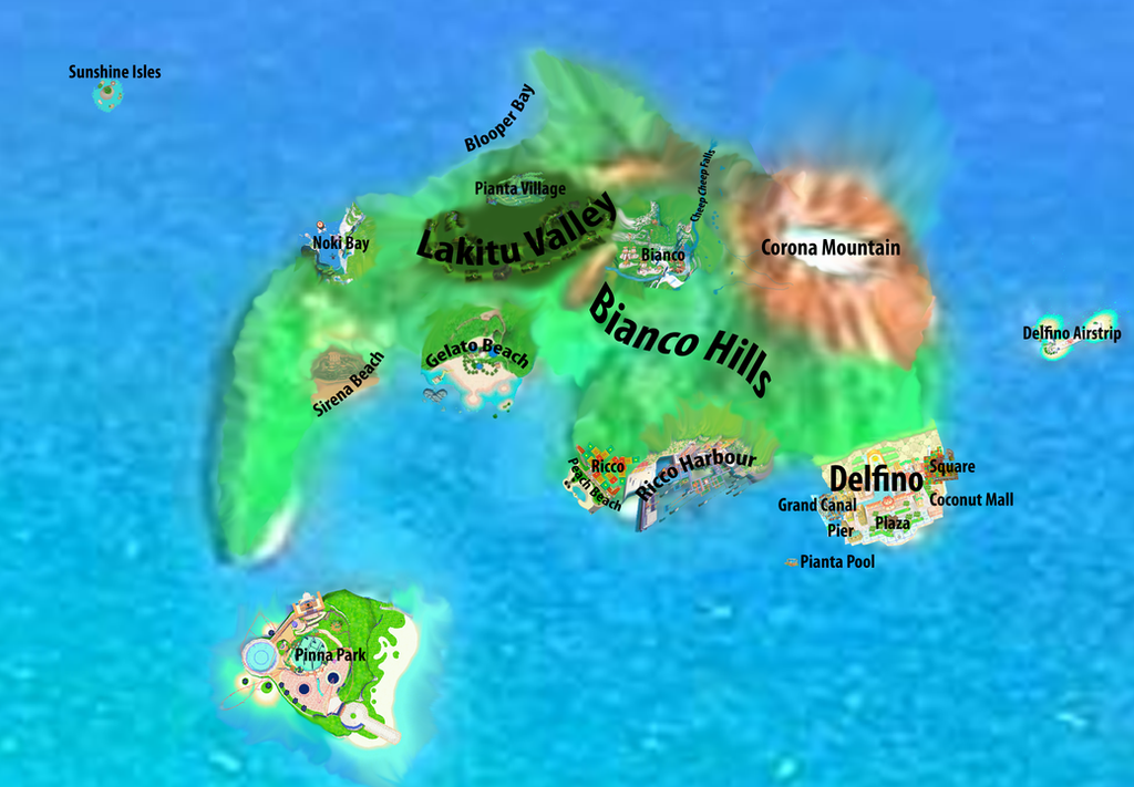 Mushroom Kingdom Map: Isle Delfino by Marhiin