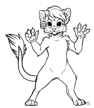 Free to use cat anthro line art!