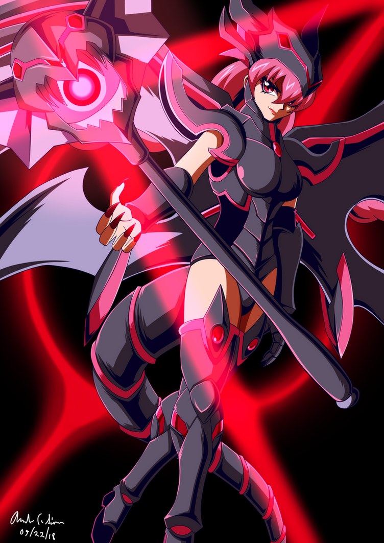 Commission: Red Eyes Darkness Magician Girl by innovator123