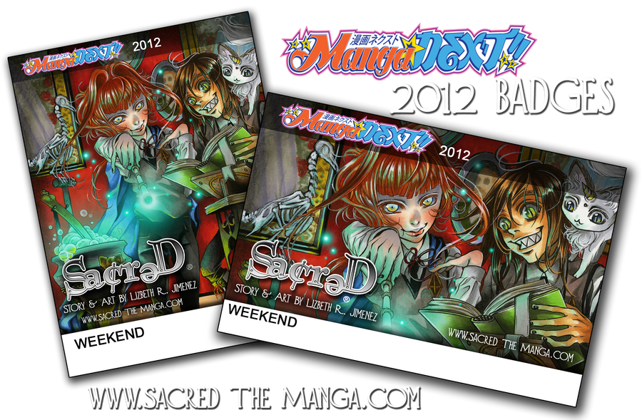 SACRED- MangaNEXT 2012 Badges by SiSero