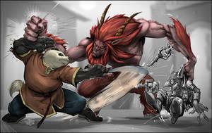 WOW_Pandaren_vs_Satyr by drucpec