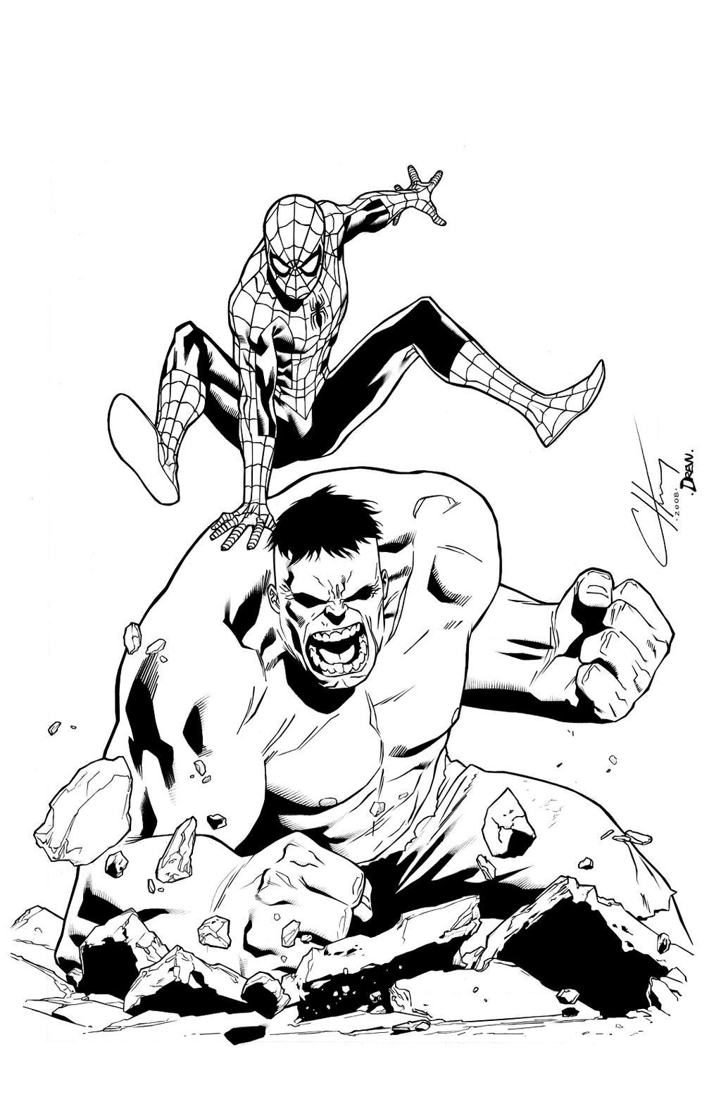Spidey and hulk inks by drucpec on deviantart for Immagini spiderman da colorare
