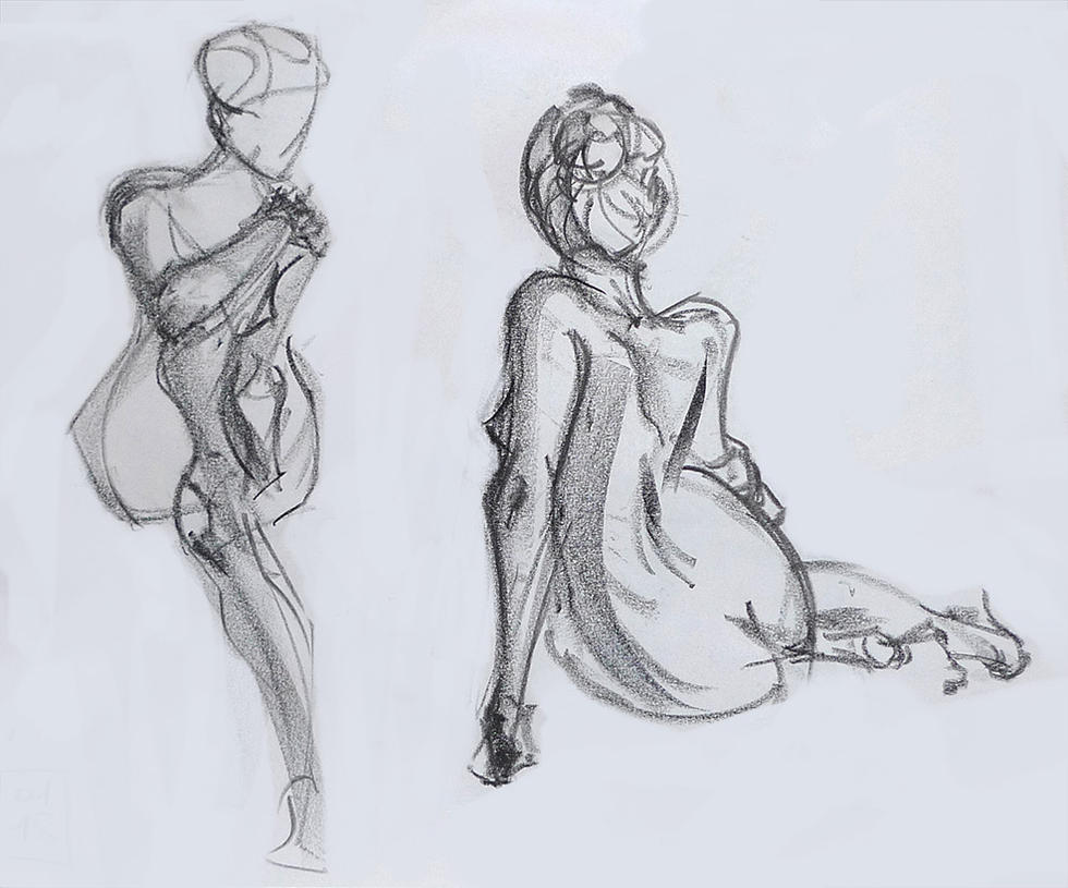 Life drawing - January 2018 by Gizmoatwork