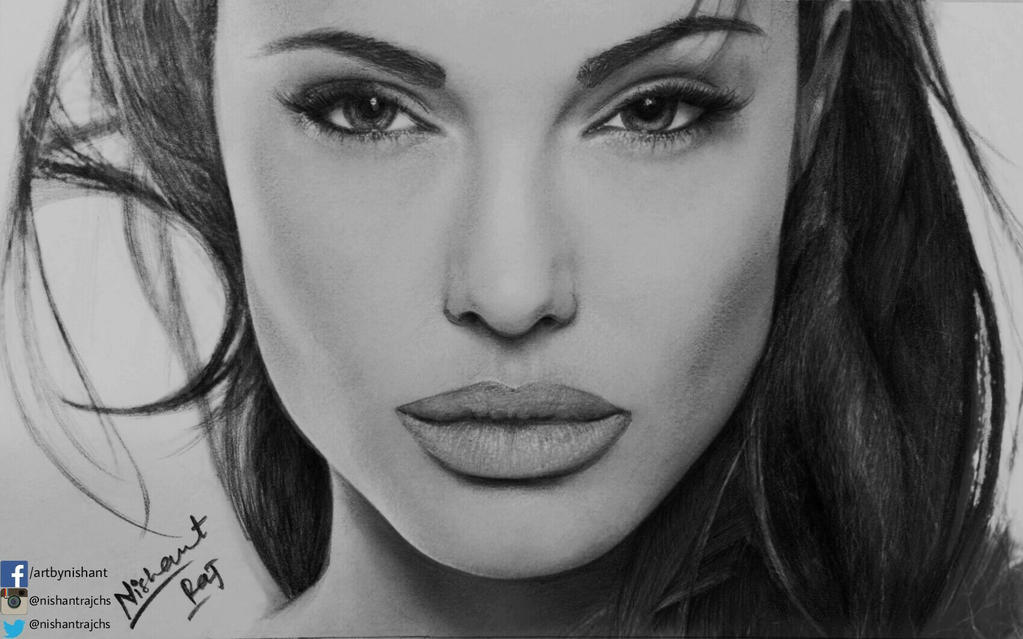 Pencil Sketch Of Angelina Jolie By Nishantrajchs On DeviantArt