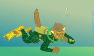 Red wolf scuba diver (concept, updated)