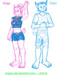 My main feline characters size comparision