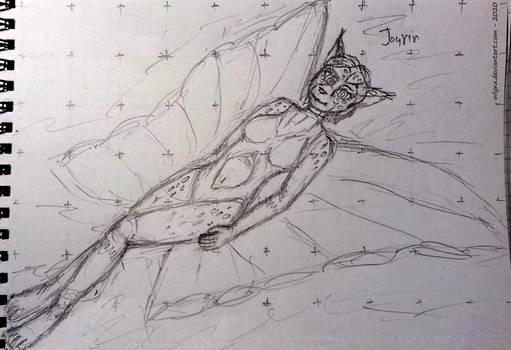 Jayrin floats on a butterfly-shaped mattress