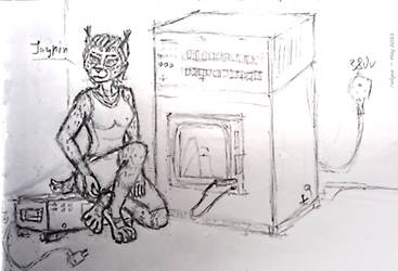 Jayrin and some retro computing device - doodle