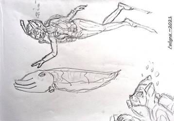 Scuba squid meeting (OC Jayryn's adventures)