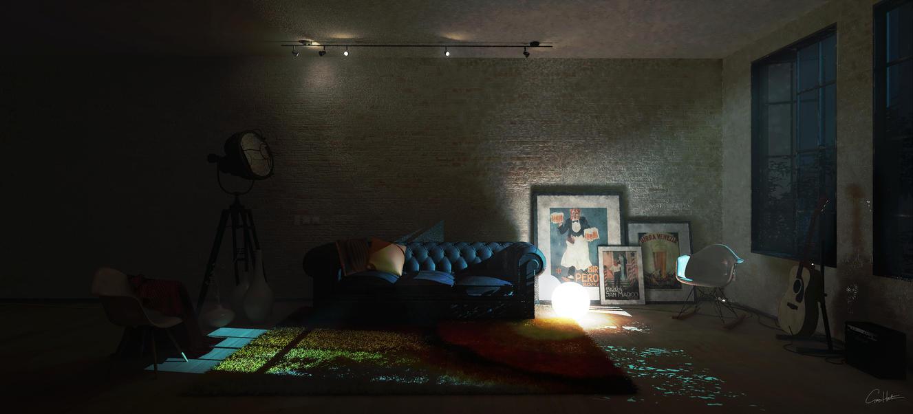 Studio Living room 01 Nightscene by gg31hh