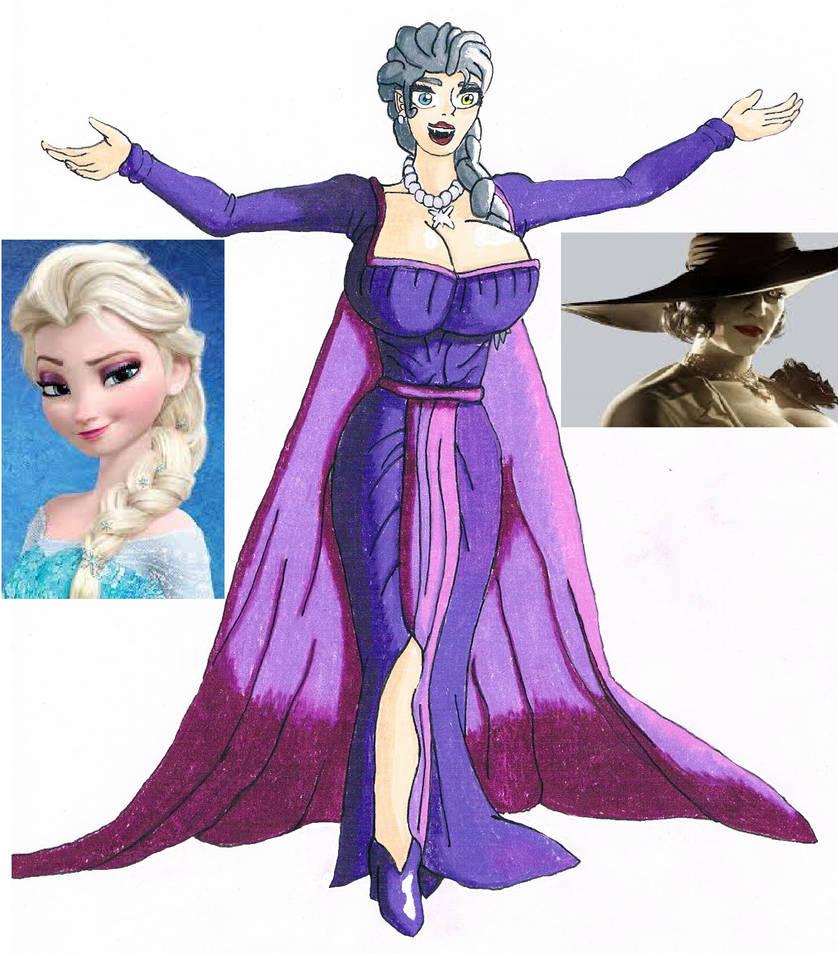 Elsa and Lady Dimitrescu fusion