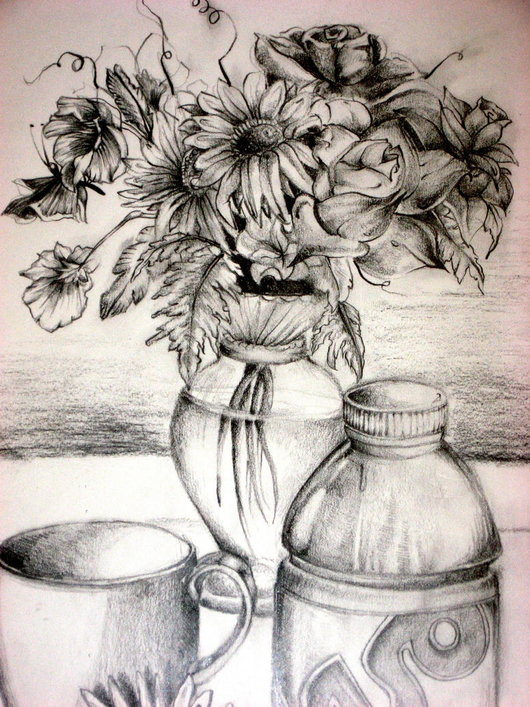 Flower Vase Drawing By Aim4beauty On Deviantart