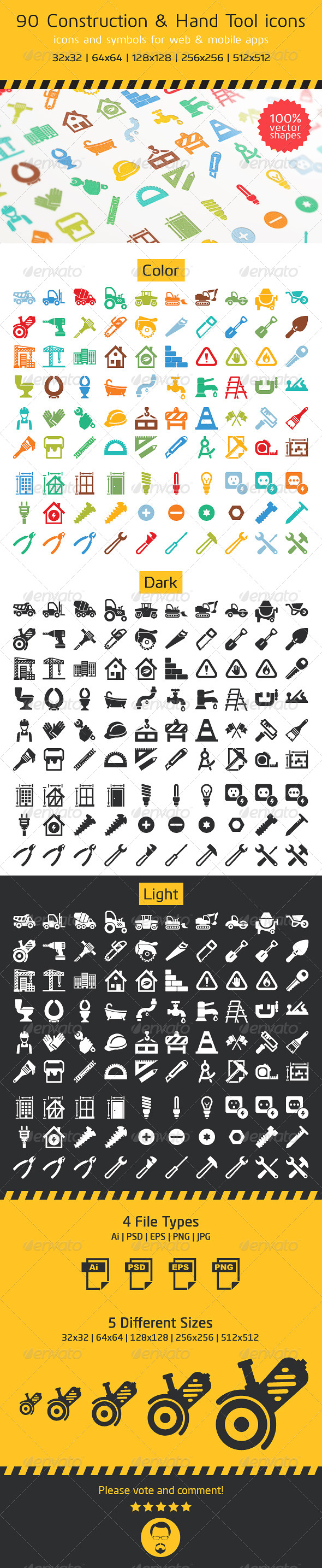 90 Construction and Hand Tool Icons by ottoson