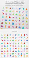 140 Food and Kitchen Icons